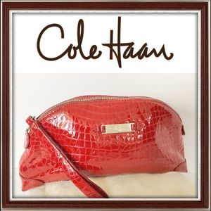 COLE HAAN Patent Leather Embossed Wristlet